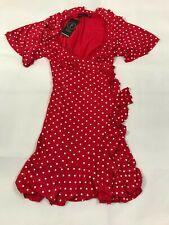 1b3f174f2668 Womens BoohooRuffle Wrap Polka Dot Tea Dress Red & White Petite Size 10 NWT