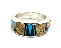 Native American Sterling Silver Navajo Jasper Turquoise Ring Size: 9