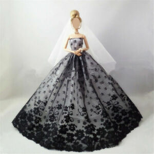 Princess Evening Dresses Wedding Party Clothes Long Tail Gown+veil for Doll Toys