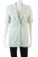 Escada Margaretha Ley Womens Single Button Striped Shirt Green White Size EU 36