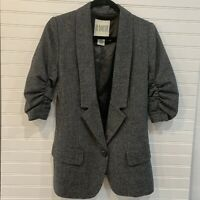 BB Dakota Womens Gray Blazer Ruched 3/4 Sleeve Notched Collar Coat Jacket 6