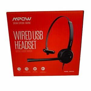 Wired Computer Headset Model MPOW HC6  BH328A 3.5MM Jack USB Microphone (7579)