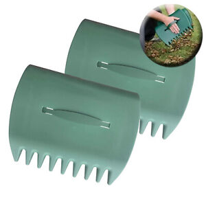Set of 2 Garden Leaf Grabber Hand Rakes Handheld Grass Leaves Rubbish Collector