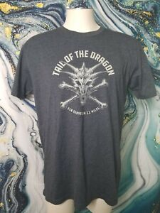 Mens L Tail of the Dragon At Deals Gap NC Gray T Shirt Double Sided