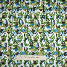 Birdhouse Fabric - Birds Houses Yellow Blue Green White - Dear Stella Cotton /Yd
