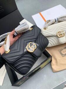 Gucci Gg Crossbody Marmont Calfskin Matelasse Small Black Leather  Shoulder Bag.