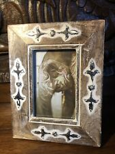 Handcrafted Carved Wooden Photo Frame Made in India. Patterned Embossed Shapes