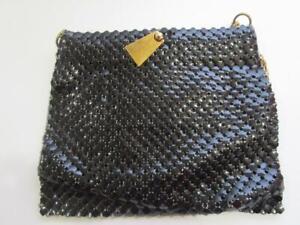 Vintage Whiting and Davis Black Mesh Gold Chain Handbag Purse