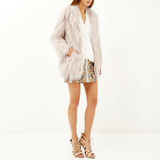 Gorgeous RIVER ISLAND Light Pink Faux Fur Shaggy Coat  SIZE 10 - NEW