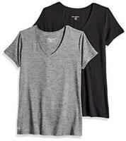 Essentials Women's 2-Pack Tech Stretch Short-Sleeve, Grey, Size Large