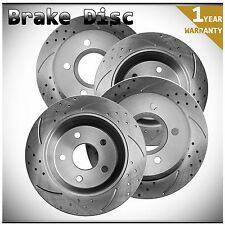 4pcs Front+Rear Left+Right Drilled Slotted Vented Disc Brake Rotors Zinc Coated