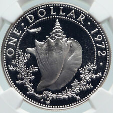 1972 BAHAMAS with CONCH SHELL Vintage OLD Proof Silver Dollar Coin NGC i85805