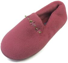 Moonbeams Burgundy Rosette Micro Terry Slippers for Women Spring Foam Cushioning