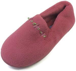 Moonbeams Burgundy Rosette Micro Terry Slippers for Women Spring Foam Cushioning