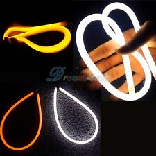 2x 30cm Car Soft Color Tube LED Strip Headlight DRL Light White Amber W/ Turn