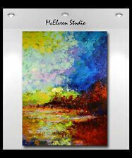 "ORIGINAL ABSTRACT RIVER LOWLANDS OIL  PAINTING  XXL 36"" x  48"" CLAIRE MCELVEEN"