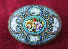 ancienne broche micro mosaïque florale sur support laiton ancient brooch jewelry