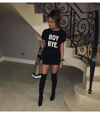 Women Ladies Black BOY BYE Turn Up Short Sleeve T-Shirt Tops Slim Dress UK 8-16