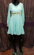 Vintage 60's Pleated Lace Velvet Trim Mod Dress