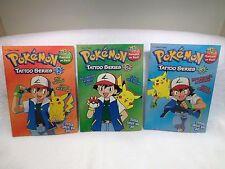 VINTAGE Pokemon Golden Books Tattoo Series #1, 2 & 3 NOS NEW Full Set Mint Cond