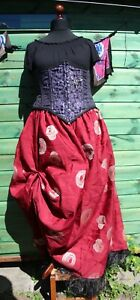 Long Skirt Hand Made Red & White Steampunk Plus Size 22 24 Recycled Material