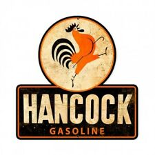 Hancock Gasoline Metal Sign Gas and Oil Rooster Logo Service Station Garage