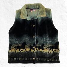 Mazmania Button Fleece Vest Horses Size XL Made in USA Equestrian Rancher