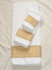 Bath Hand Towel Wash Cloth Shiny Gold Beige Zig Zag Chevron Stripe 3 Piece Set