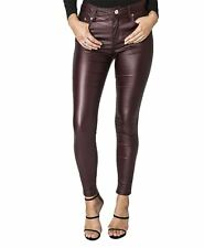 Womens Wet Faux LOOK PU Stretch High Waisted Slim Fit Jeans Trousers Pants Wine - 2085bs UK 18
