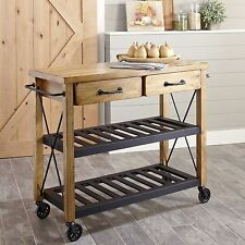 Modern Rustic Industrial Country Portable Kitchen Cart Island Utility Prep Table