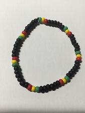Irie Rasta Reggae Jamrock Red Green Yellow Black Bead Bracelet Mens Size