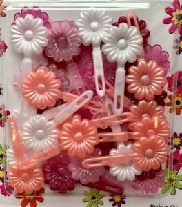 Assortment of pink,white,burgundy girls' small daisy hair barrettes snaps