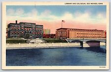 Library and Coliseum in Des Moines, Iowa Linen Postcard