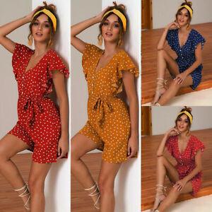 Womens Playsuits Jumpsuits Shorts V-neck Polka Dot Holiday Summer Casual New UK