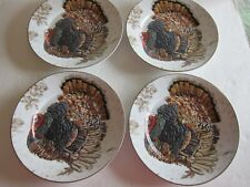 Williams Sonoma Thanksgiving Plymouth Turkey Appetizer Plates Set of 4