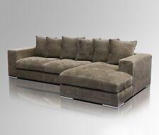 Amaris Elements | Eck Garnitur Samt Sofa Stoff braun Schlaf Couch 295x165xH65cm