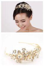 Impresionante Nupcial Boda Vintage Flor Cristal Perla Oro Plateado Tiara Diadema