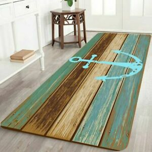 Bathroom Rugs Non-Slip Soft Absorbent Bath Mat With Nautical Anchor Flannel For
