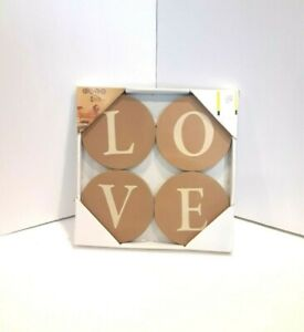 NEW 4 Pc LOVE Wall Plaques Wall Art Wood Sign Letters Script Round