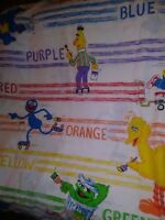 Vintage Sesame Street Lot Of 3 Twin Flat  Sheets Bed  Fabric
