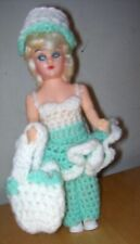 """Vintage Atc 7 1/2"""" Hard Plastic Doll w/ Hand Chochet Outfit"""