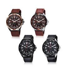 NAVIFORCE 9056 Men Leather Band Analog Quartz Watch Date Luminous Wristwatch3ATM