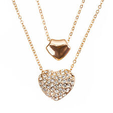 "Double Puffed Heart Pendant Necklace Rose Gold Plated 16"" double chain (H52/3)"