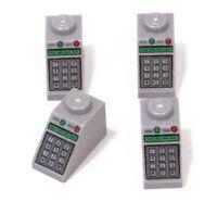 LEGO - 4 x Dachstein 1x2 hellgrau mit Tastatur - Aufdruck / 3040pb010 NEUWARE