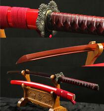 1095 CARBON STEEL RED BLADE HANDMADE JAPANESE SAMURAI SWORD KATANA SHARP