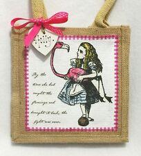 Handcrafted Personalised Alice In Wonderland  Mini Jute Tote Gift Bag Lunch Bag