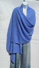 100% Cashmere Shawl/Wrap Hand Loomed Nepal Solid Lt Blue 4 Ply Herringbone