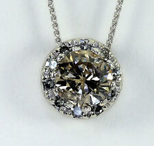 Diamond halo pendant necklace 14K w/g 1.38CT fancy brown round brilliant 1.60CTW