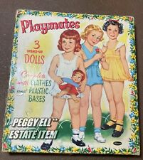 "1953 WHITMAN BOXED SET ""PLAYMATES"" 3 STAND-UP PAPER DOLLS #2627 LOTS OF CLOTHES"