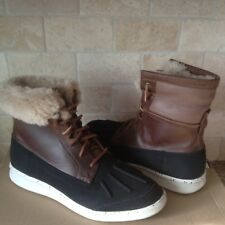 UGG Roskoe Chestnut Black Waterproof Suede Sheepskin Boots Shoes Size 9.5 Mens